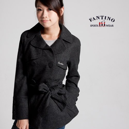 【FANTINO】女款 氣質雙排鈕扣外套(灰色 ) 085307