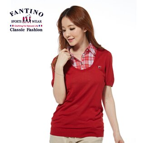 【FANTINO】女裝 蠶絲格紋領襟修身針織衫(紅)377107