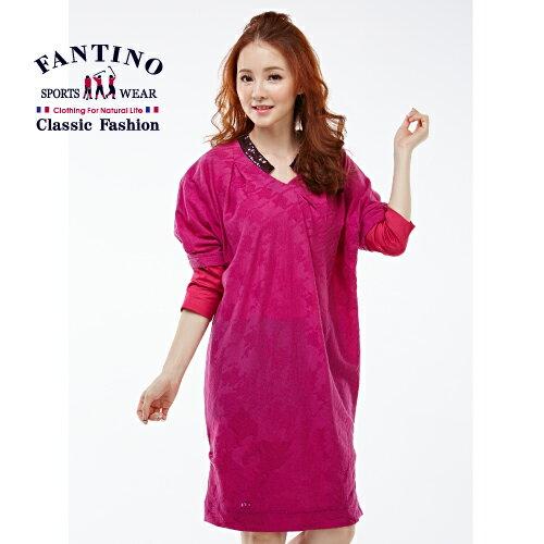 【FANTINO】女裝 亮片領千鳥格長版羊毛洋裝(紫紅)081301 2