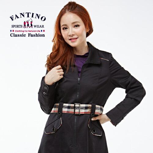 【FANTINO】女裝 法式風情長版風衣洋裝(黑)182301 1