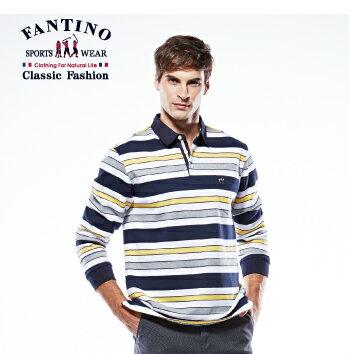 【FANTINO】男裝 撞色橫條舒適棉質POLO衫 (黃) 441112 1