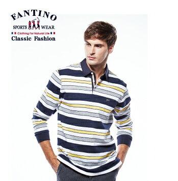 <br/><br/> 【FANTINO】男裝 撞色橫條舒適棉質POLO衫 (黃) 441112<br/><br/>