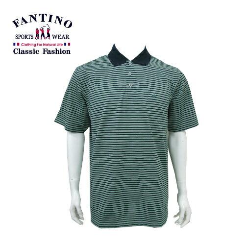 【FANTINO】男裝 經典不敗橫條POLO棉衫 (綠.紫) 431101-431102 1