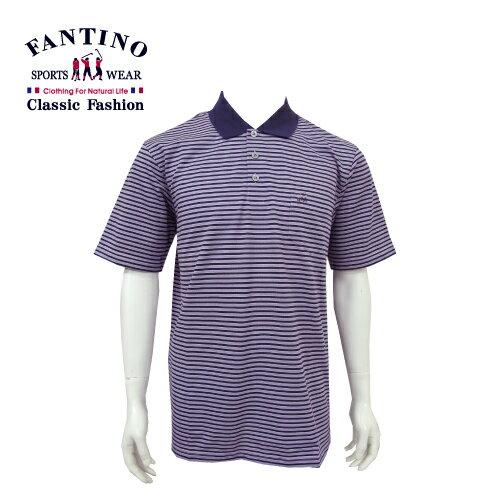【FANTINO】男裝 經典不敗橫條POLO棉衫 (綠.紫) 431101-431102 0