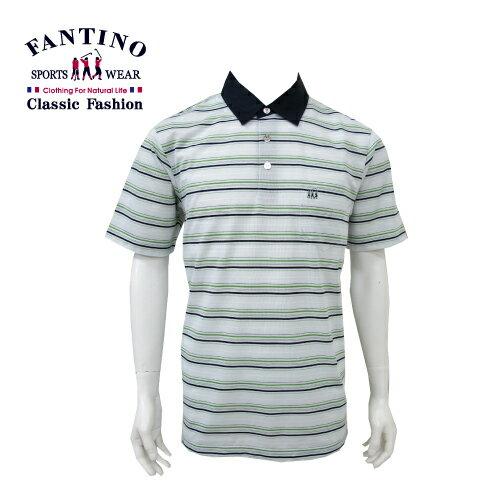 【FANTINO】 男裝 休閒悠活棉橫紋POLO衫 (淺綠) 431109 - 限時優惠好康折扣