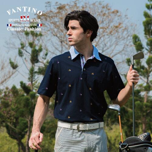 【FANTINO】男裝 透氣百搭雙絲光棉POLO衫(白、丈青)431339-431340 1