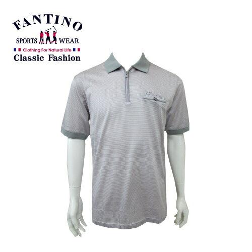【FANTINO】男裝 80支雙絲光polo棉衫 (粉灰條) 431344 - 限時優惠好康折扣