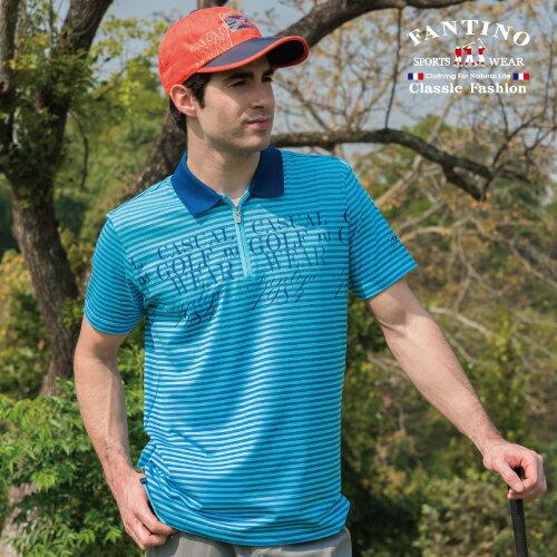 【FANTINO】男裝 戶外休閒吸濕排汗搶眼橫條棉衫(藍、桔)431732-431733 0