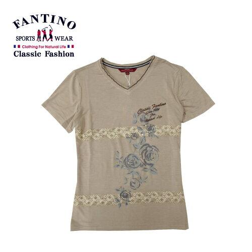 【FANTINO】女裝 舒適彈性印花休閒上衣 (卡其.桔) 471106-471107 1