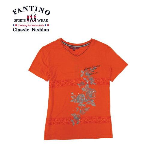 【FANTINO】女裝 舒適彈性印花休閒上衣 (卡其.桔) 471106-471107 0
