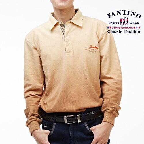 【FANTINO】男裝 休閒仿舊刷漸層POLO衫(鐵灰、褐)041193-041194