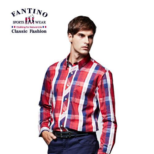 【FANTINO】男裝 格紋襯衫(紅)444324 - 限時優惠好康折扣