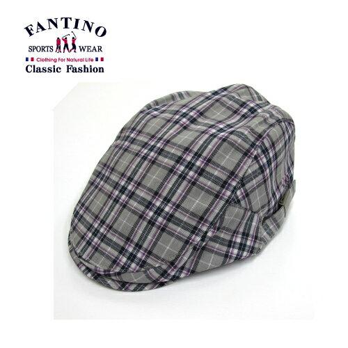 【FANTINO】男款 時尚格紋鴨舌帽(紫灰.粉灰)449201-449202 1