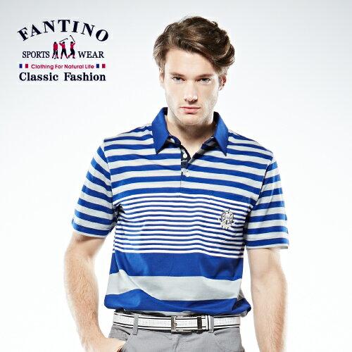 【FANTINO】男裝  醒目焦點亮感POLO棉衫 (藍.芥綠) 531321-531322 0