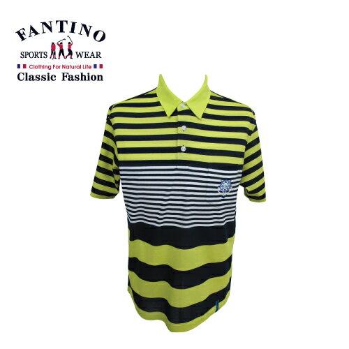 【FANTINO】男裝  醒目焦點亮感POLO棉衫 (藍.芥綠) 531321-531322 1