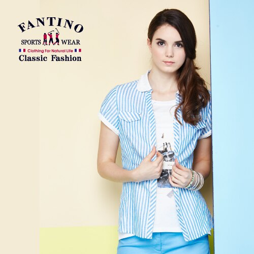 【FANTINO】女裝 海洋風直線條襯衫 (藍白條) 574111 - 限時優惠好康折扣