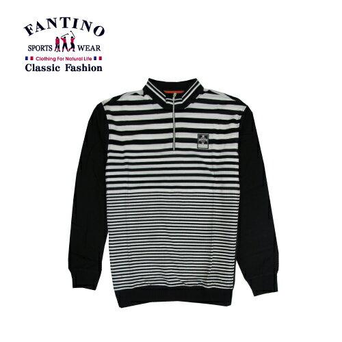 【FANTINO】男裝 經典線條polo衫 (黑.桔)341342-341343 2