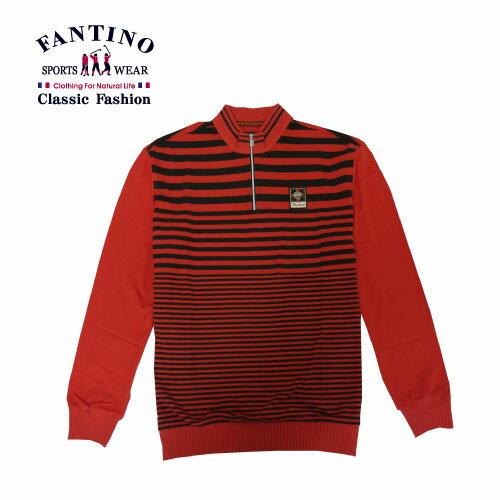【FANTINO】男裝 經典線條polo衫 (黑.桔)341342-341343 1