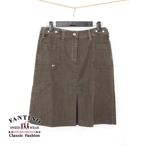 【FANTINO】女款 百搭經典設計款.打褶及膝牛仔裙(咖啡)963302