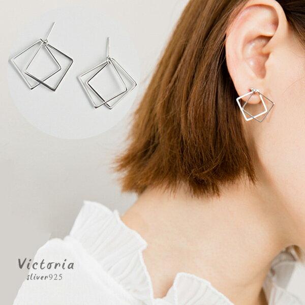S925銀 雙層方型 耳環~維多利亞161229