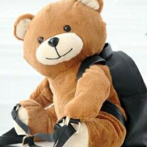 美麗大街【HB201602】莫斯奇諾小熊毛絨雙肩包毛絨拼黑色牛皮熊背包書包