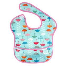 【淘氣寶寶】【美國Bumkins】防水兒童圍兜 (一般無袖款6個月~2歲適用)-小雨傘BKS-163【保證公司貨】