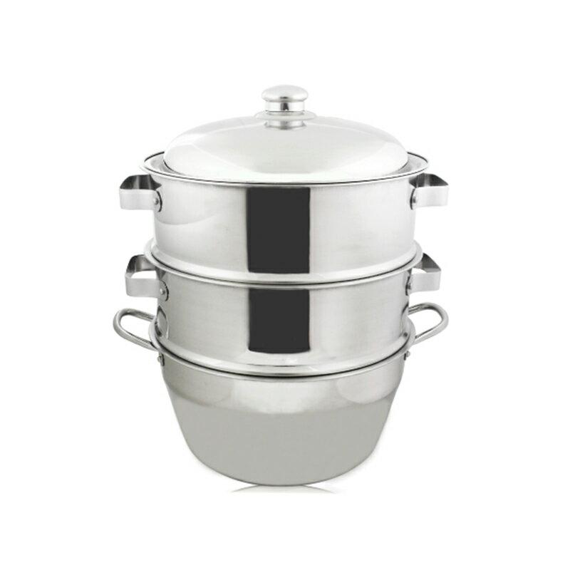 厚料304不銹鋼蒸籠組40cm湯鍋+二入蒸盤+上蓋-大廚師百貨