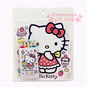 〔小禮堂〕Hello Kitty 造型著色本《小.粉白直條紋.小熊.甜點》附5支色鉛筆