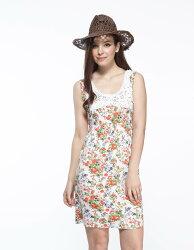 【JL JOCELIN】高腰蕾絲圓領印花洋裝