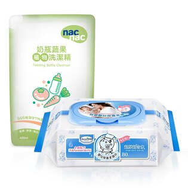【奇買親子購物網】貝恩BaanNEW嬰兒保養柔濕巾80抽24入箱+NacNac奶瓶清潔劑補充包600ml