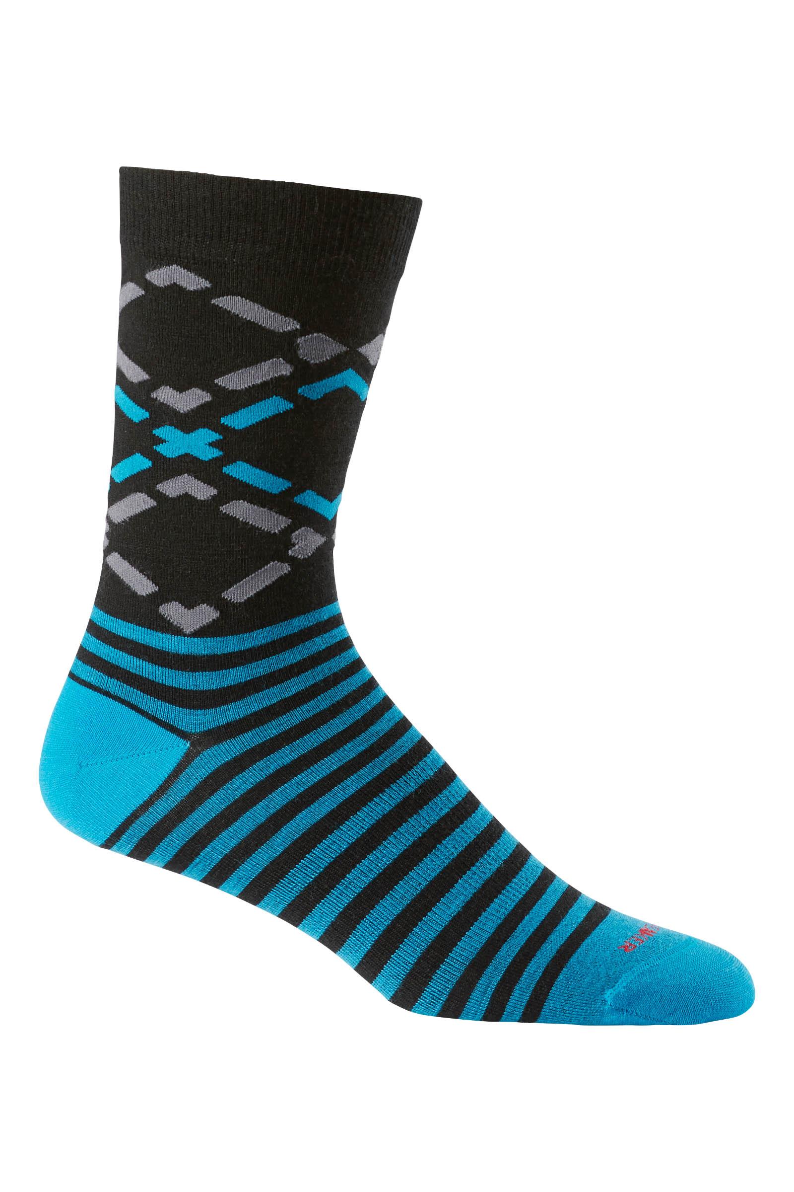 《台南悠活運動家》icebreaker 紐西蘭 男中筒細針織菱紋都會休閒襪 航海藍 IB102838-001