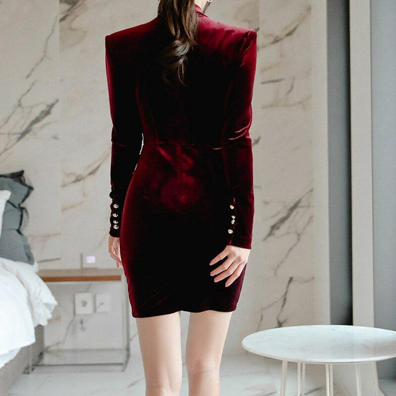 女裝2021新款名媛OL氣質範立領鏤空修身金絲絨復古包臀連衣裙