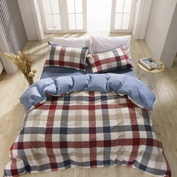 床包薄被套組雙人特大色織水洗棉英格蘭[鴻宇]台灣製2115
