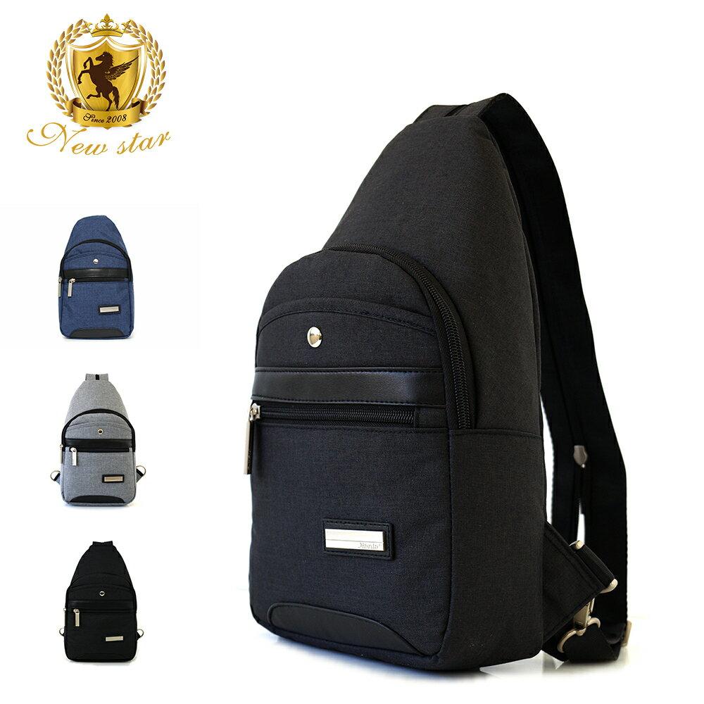 單肩背包 簡約防水拼接配皮前口袋斜胸包後背包包 NEW STAR BK243 0