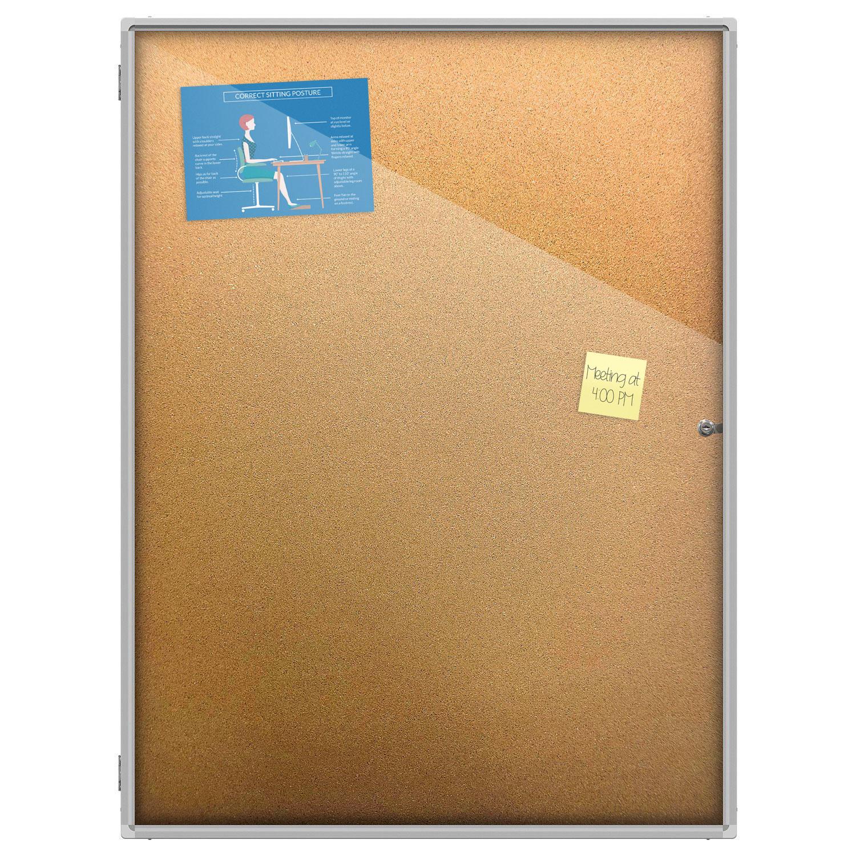 Thornton S Office Supplies Aluminum Frame Wall Mount Enclosed Cork Bulletin Board