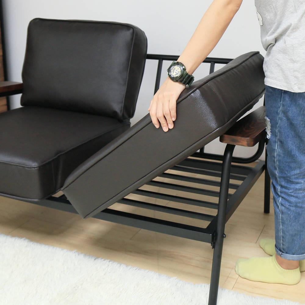 日式 推薦 Marico馬力克工業風鐵架L型沙發 / 雙人沙發+腳凳  /  H&D 6