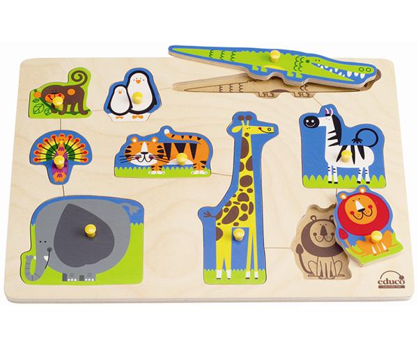 【免運費】《 德國 Hape 愛傑卡》野生動物木拼圖