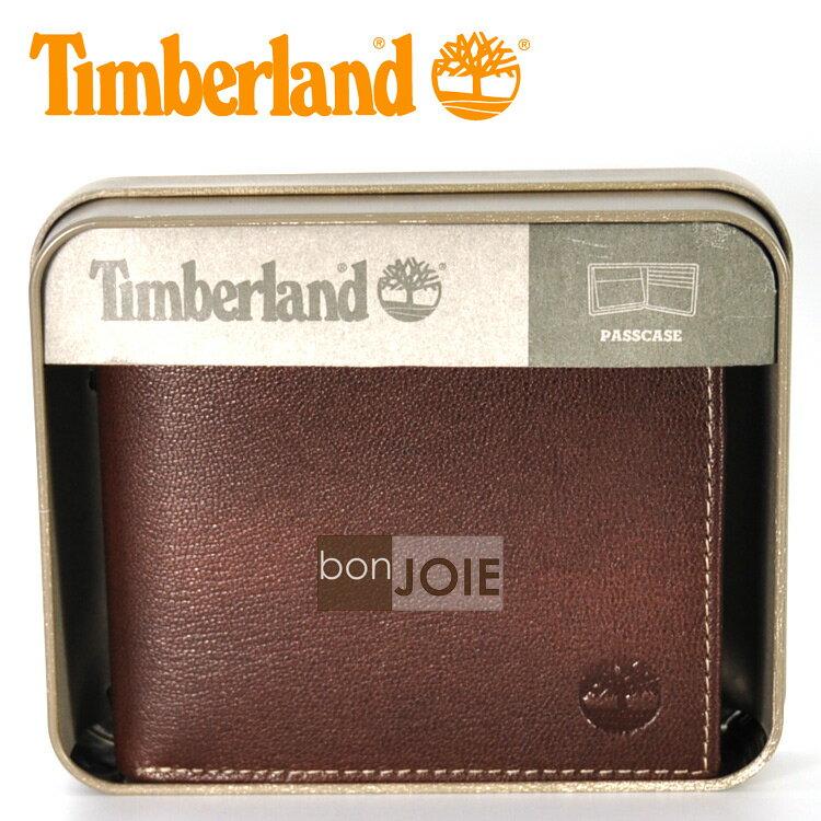 ::bonJOIE:: 美國進口 新款 Timberland 紙盒裝上翻式透明窗皮夾 (咖啡色)(附原廠盒裝) 真皮 三折式 短夾 實物拍攝