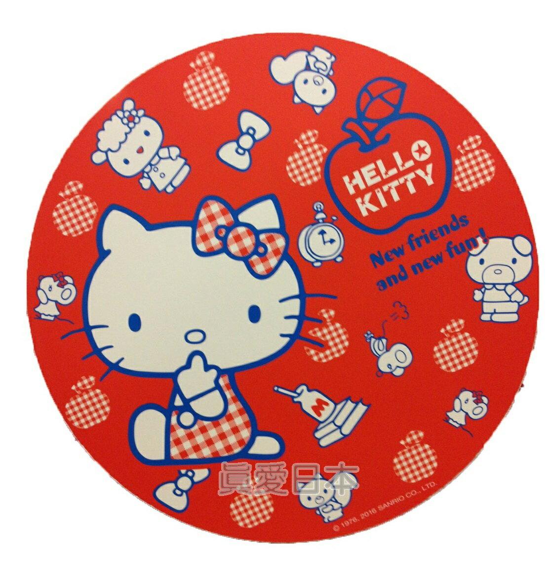 【真愛日本】16042100035環保木製隔熱墊S-蘋果紅  三麗鷗 Hello Kitty 凱蒂貓 鍋墊 杯墊 墊子 防滑 正品