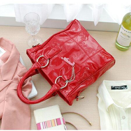 【Aimee包包屋】韓風春夏果凍款☆日式亮麗小提包《蘋果紅、金屬灰、珍珠白》☆防水漆皮兩用三隔間
