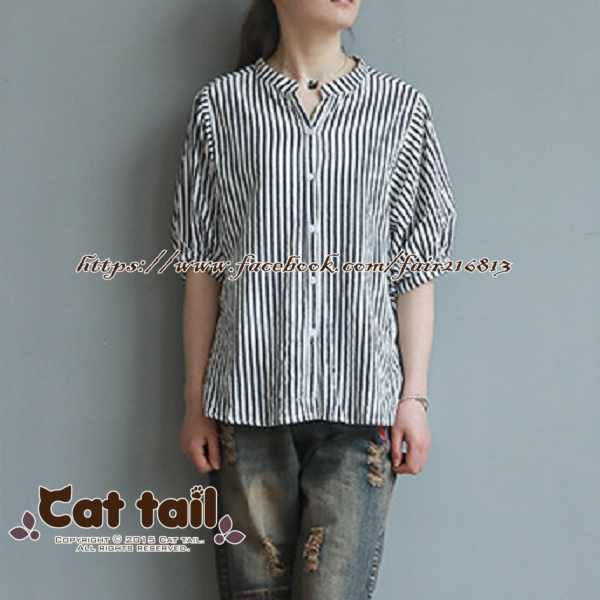 《貓尾巴》LZ-03160文藝簡約豎條紋燈籠袖短袖上衣(森林系日系棉麻文青清新)
