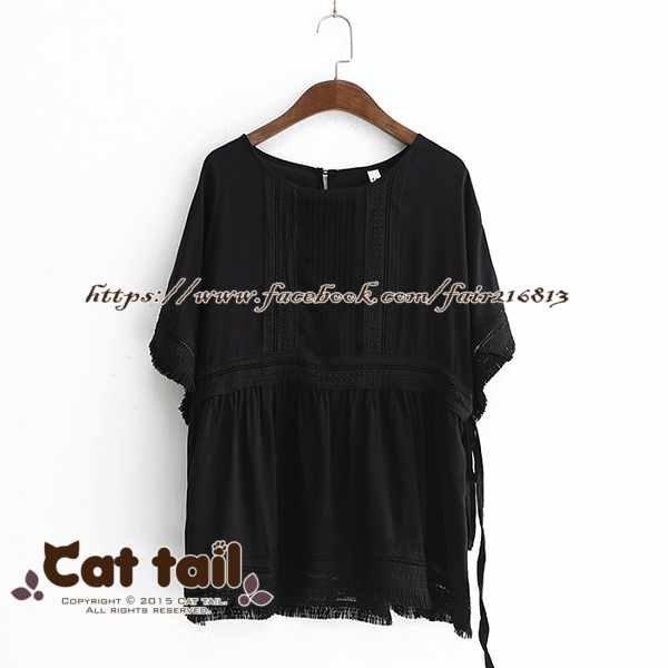 《貓尾巴》LZ-03137韓系鏤空流蘇風琴摺短袖上衣(森林系日系棉麻文青清新)