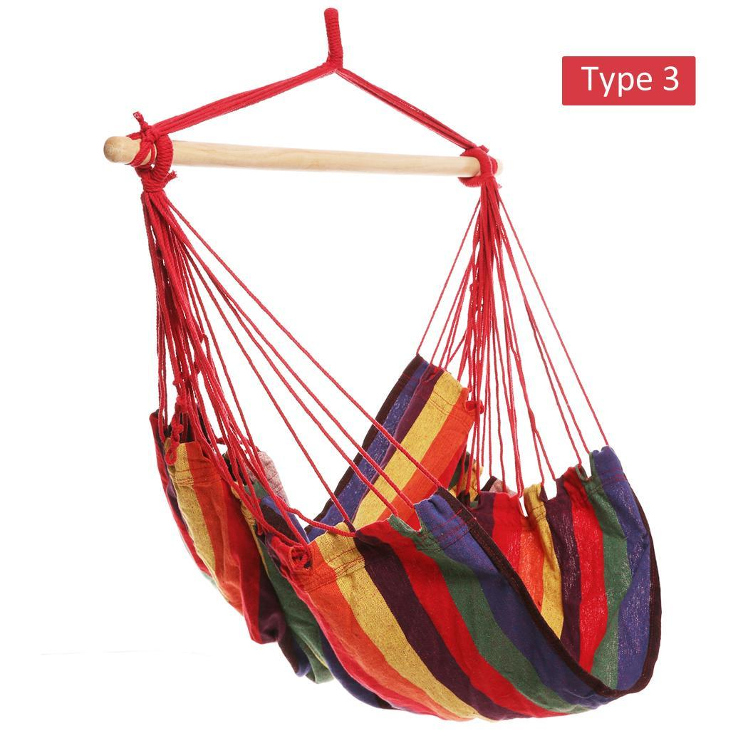 Striped Hanging Chair Hammock with Wooden Stretcher - load up to 120 kg Multicolor for Yard, Bedroom 3