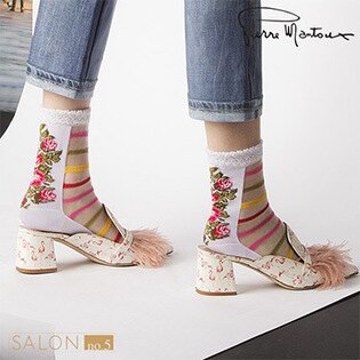 【皮爾曼都PierreMantoux】時尚花語條紋短襪義大利精品