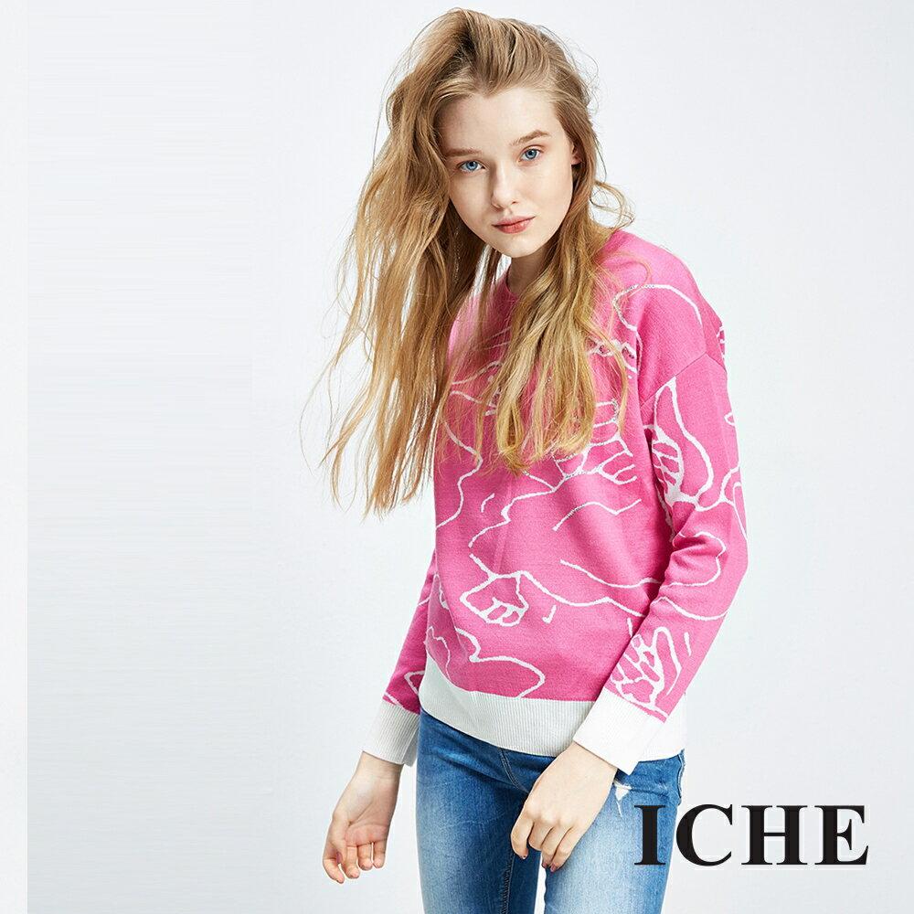 ICHE衣哲 羊毛線條印花造型上衣 兩色
