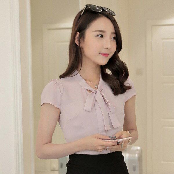 灰姑娘[586-MH]中尺碼*蝴蝶綁結素雅純色OL短袖上衣~春裝款式~