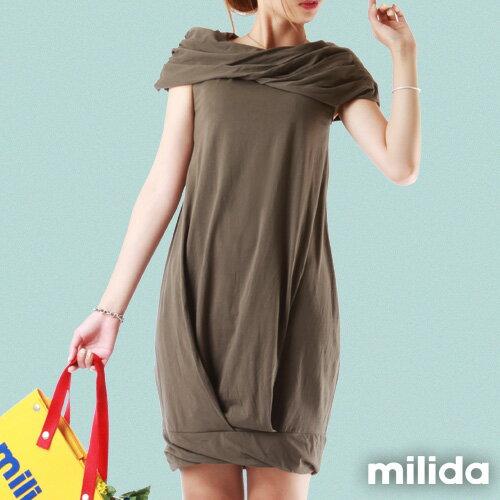 【Milida,全店七折免運】-夏季尾聲-素色款-一字領花苞洋裝 6