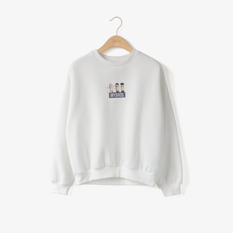 LINAGI里奈子 ~YR13~89~韓KOREA 休閒簡單卡通人物字母圖樣長袖圓領上衣