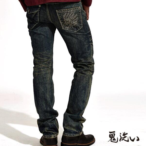 【均一價1580】鬼頭繡同心圓鋁片低腰直筒褲(深藍)-BLUEWAYONIARAI鬼洗