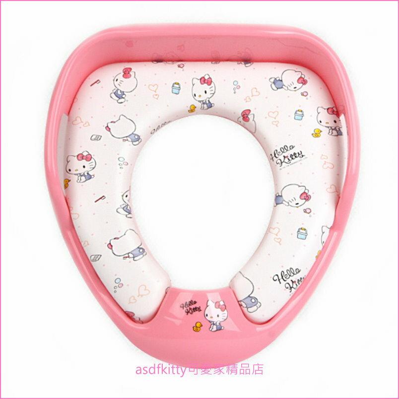 asdfkitty可愛家☆KITTY粉紅色小鴨子有扶把手兒童馬桶座/馬桶墊-輔助便器-防噴尿-韓國製